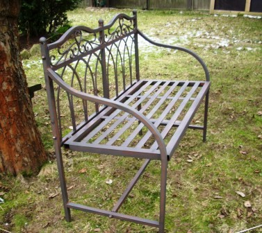 vintage gartenbank shabby chic bank metall sitzbank garten eisenbank weiss ebay. Black Bedroom Furniture Sets. Home Design Ideas