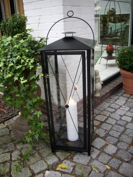 Riesige stabile laterne h 100cm schwarz windlicht - Grosse lanterne exterieur ...