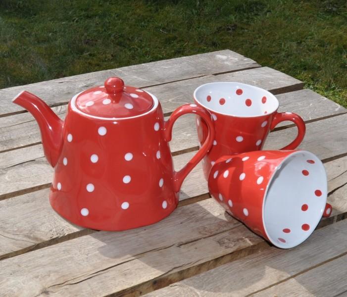 teekanne kaffeekanne mit 2 x becher kaffeegeschirr rot fliegenpilz 1 2 liter ebay. Black Bedroom Furniture Sets. Home Design Ideas
