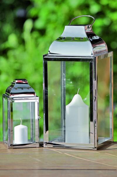 2er set laterne edelstahl silber h 20 36cm windlicht. Black Bedroom Furniture Sets. Home Design Ideas
