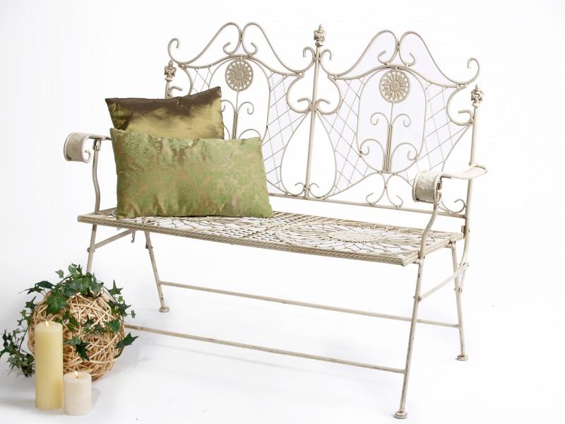 romantische gartenbank b 117cm antik wei metallbank. Black Bedroom Furniture Sets. Home Design Ideas