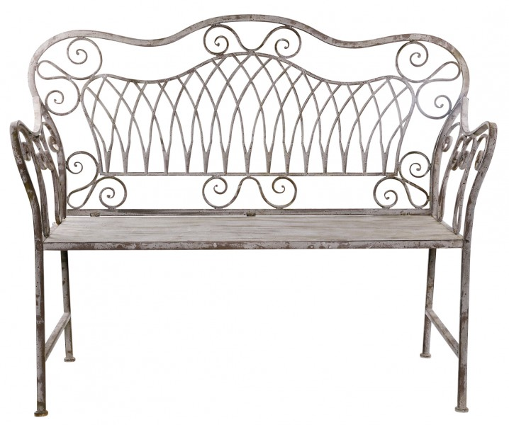 romantische gartenbank b 122cm antik grau metallbank eisenbank bank sitzbank ebay. Black Bedroom Furniture Sets. Home Design Ideas
