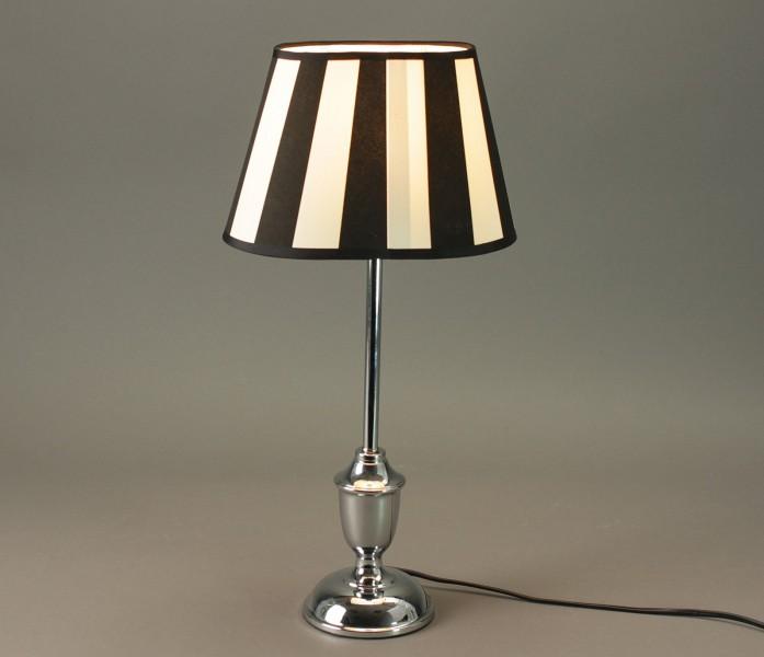 tischlampe h 49cm verchromter fuss schirm schwarz wei lampe nachttischlampe ebay. Black Bedroom Furniture Sets. Home Design Ideas