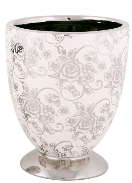 blumentopf pokal h he 20cm pflanztopf bertopf keramik rose silber pflanzvase ebay. Black Bedroom Furniture Sets. Home Design Ideas