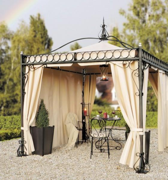 gartenpavillon metall verona schwarz verzinkt. Black Bedroom Furniture Sets. Home Design Ideas