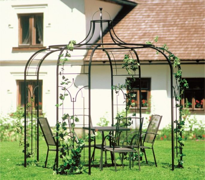 pavillon gartenpavillon 240cm aus metall 89 kg eisenpavillon schwarz ebay. Black Bedroom Furniture Sets. Home Design Ideas