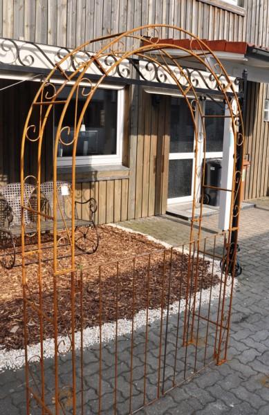 rosenbogen b 140cm rost mit t ren tor rund. Black Bedroom Furniture Sets. Home Design Ideas